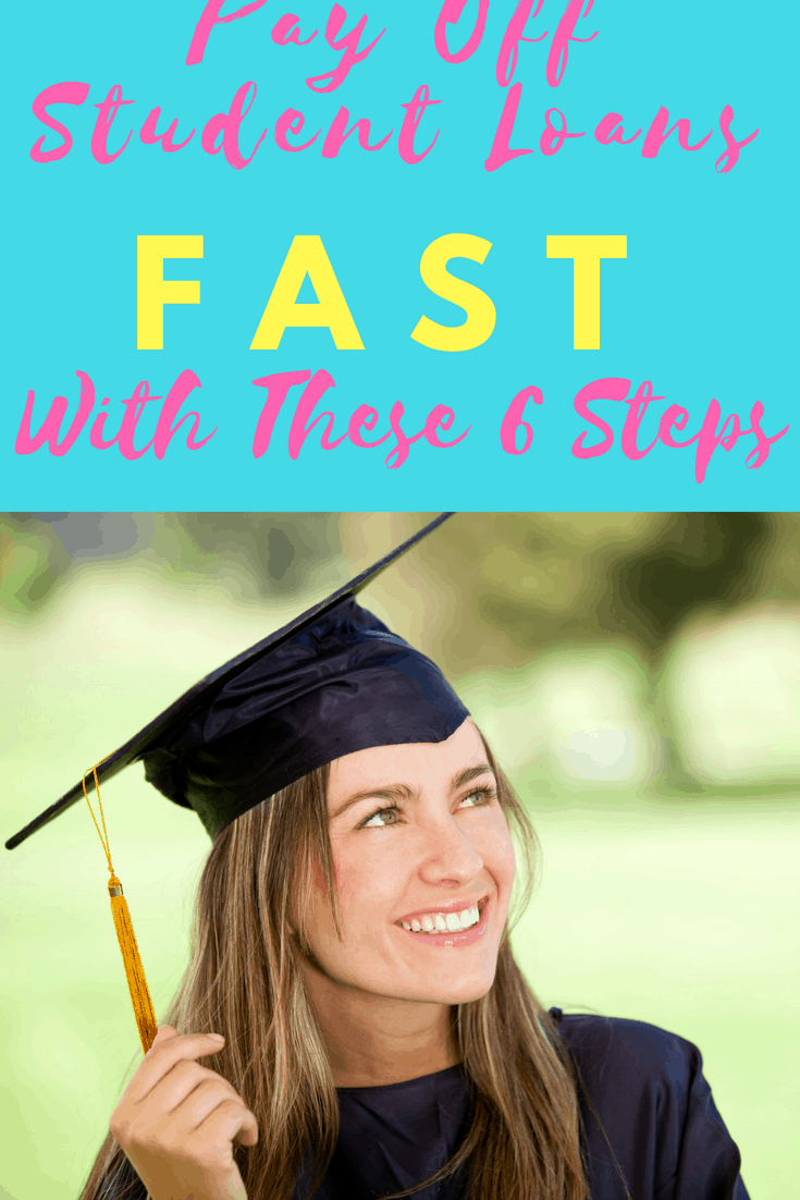 Drowning in student loan debt? Learn how to pay it off with these six tips like getting on a budget and following Dave Ramsey's debt snowball for student loans.